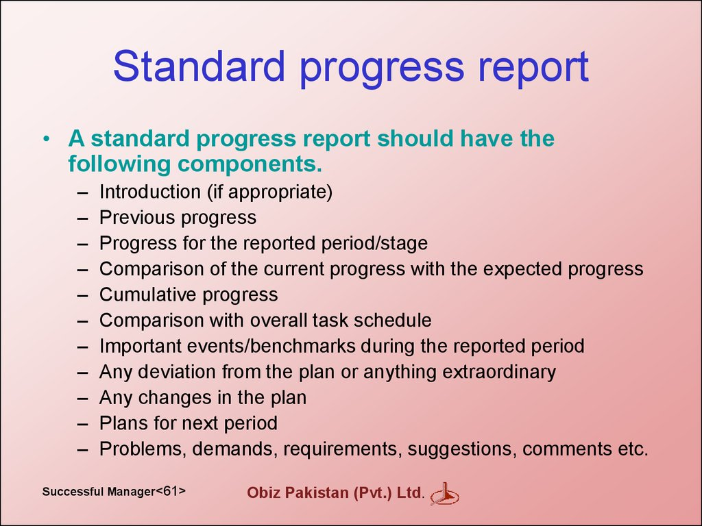 Standard progress report