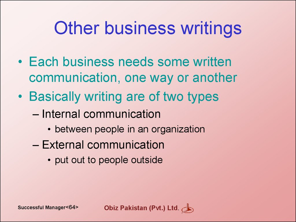 Other business writings