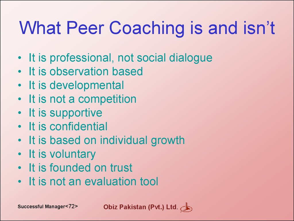 What Peer Coaching is and isn't