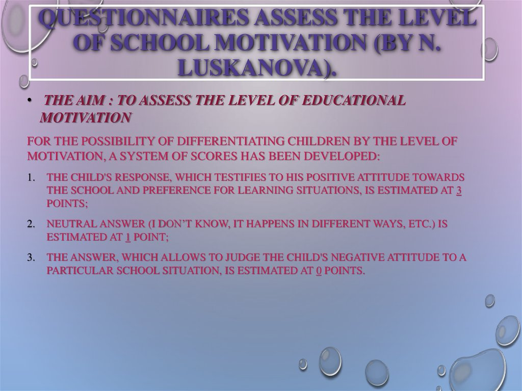 Questionnaires assess the level of school motivation (by N. Luskanova).