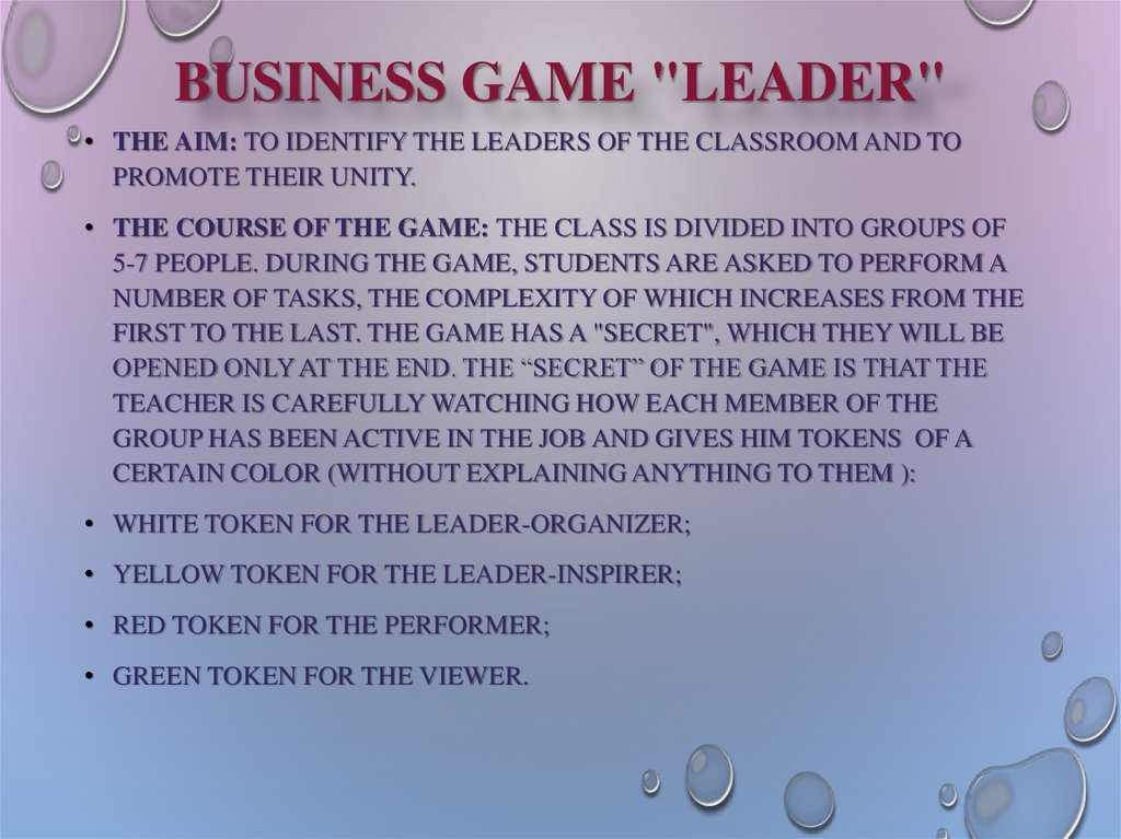 "Business game ""Leader"""