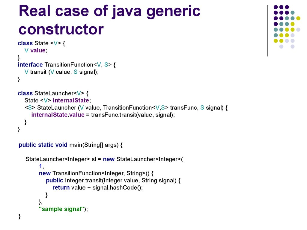 Real case of java generic constructor