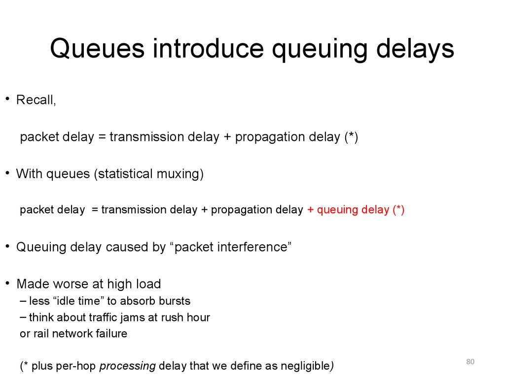 Queues introduce queuing delays