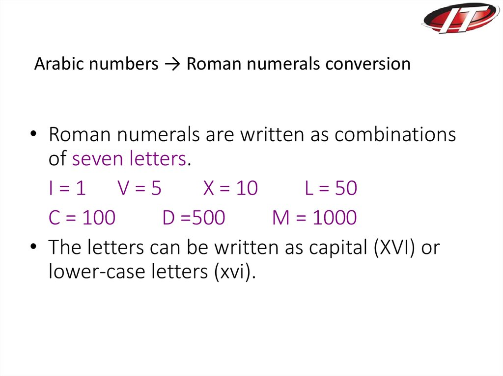 Arabic numbers → Roman numerals conversion