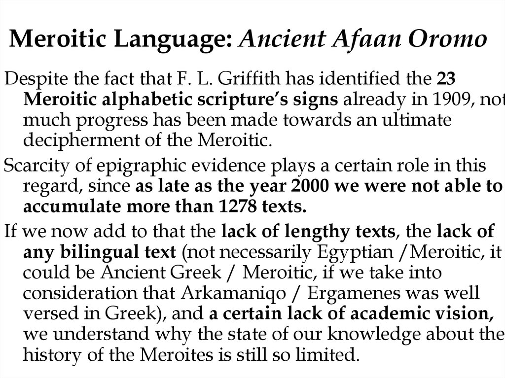 Meroitic Language: Ancient Afaan Oromo