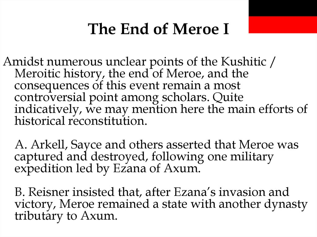 The End of Meroe I