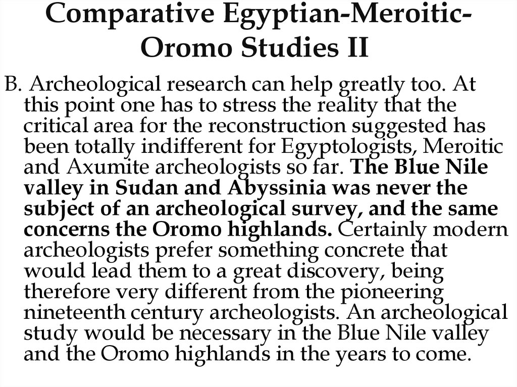 Comparative Egyptian-Meroitic-Oromo Studies II