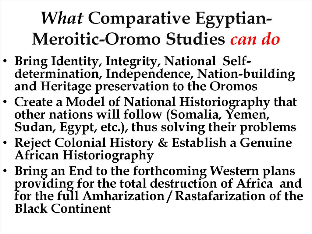 What Comparative Egyptian-Meroitic-Oromo Studies can do