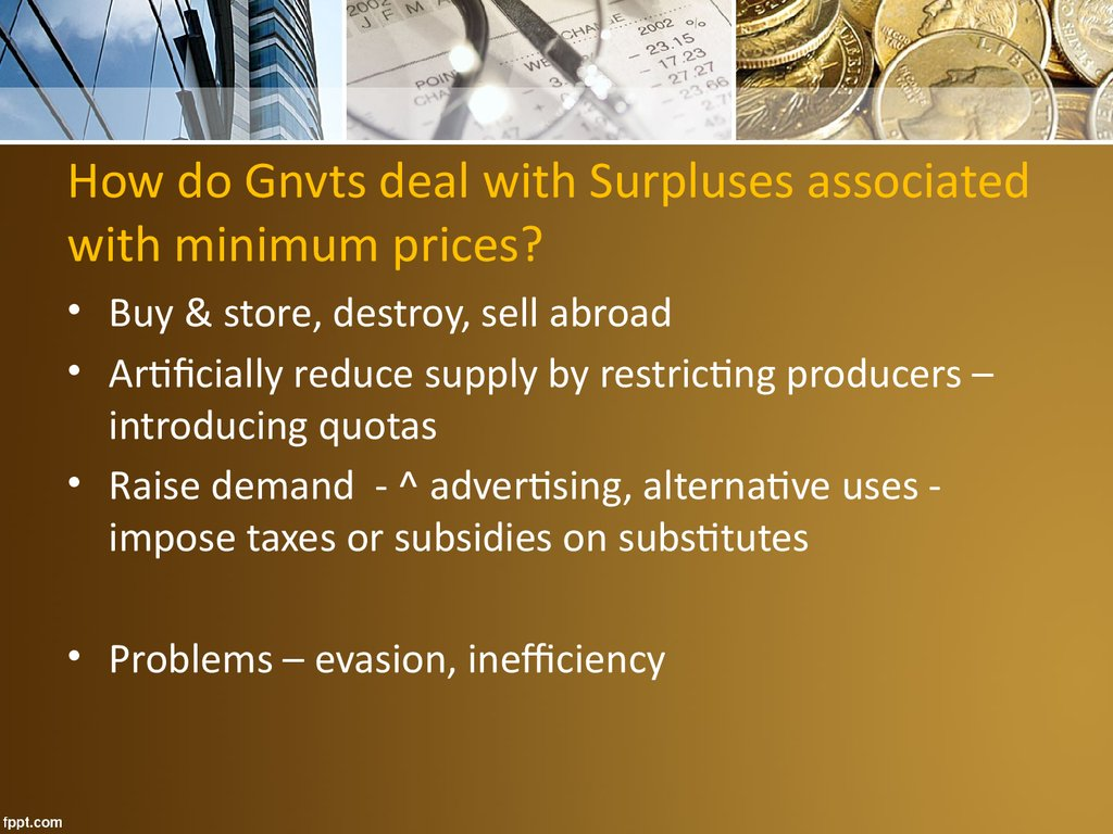 How do Gnvts deal with Surpluses associated with minimum prices?