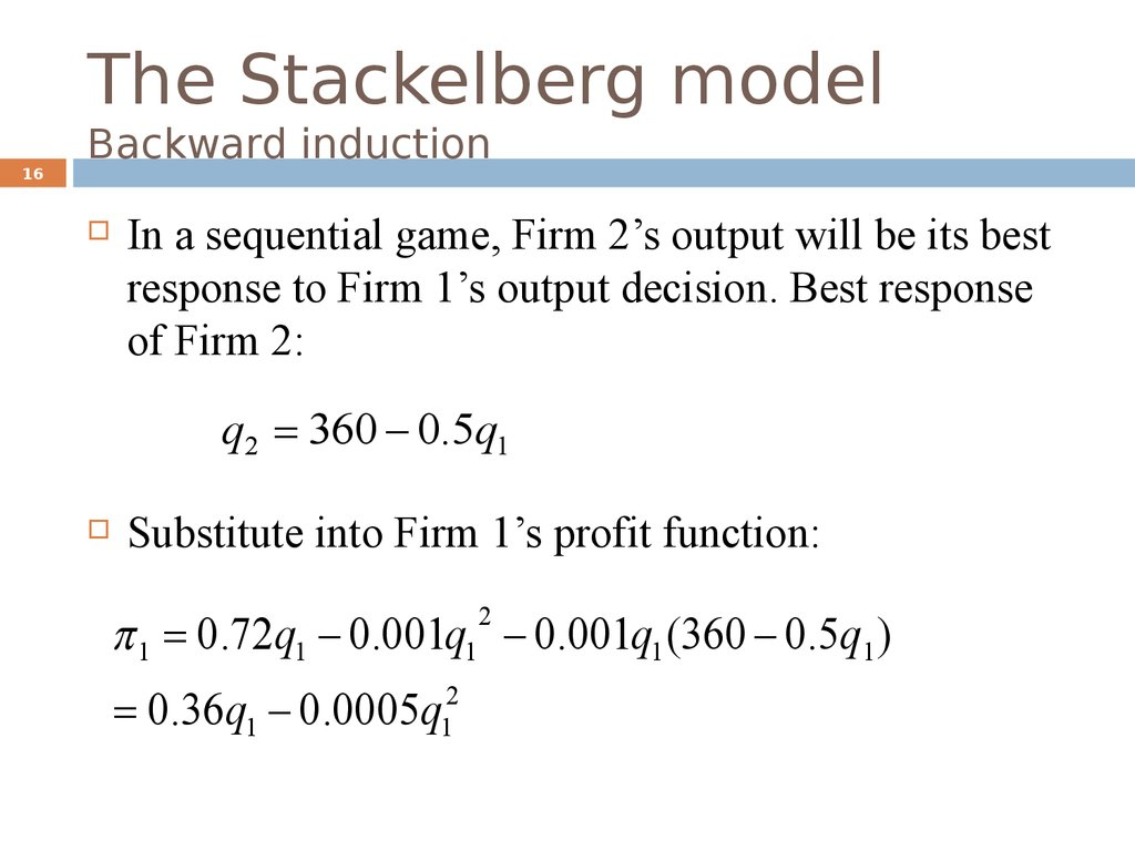 The Stackelberg model Backward induction