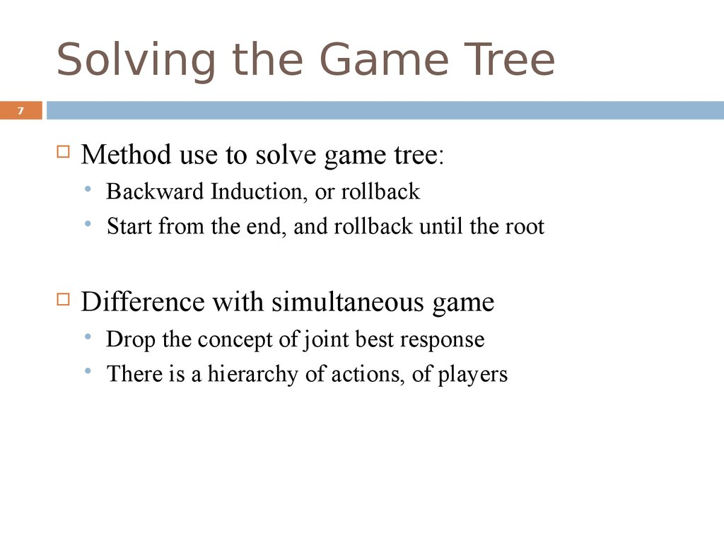 Solving the Game Tree