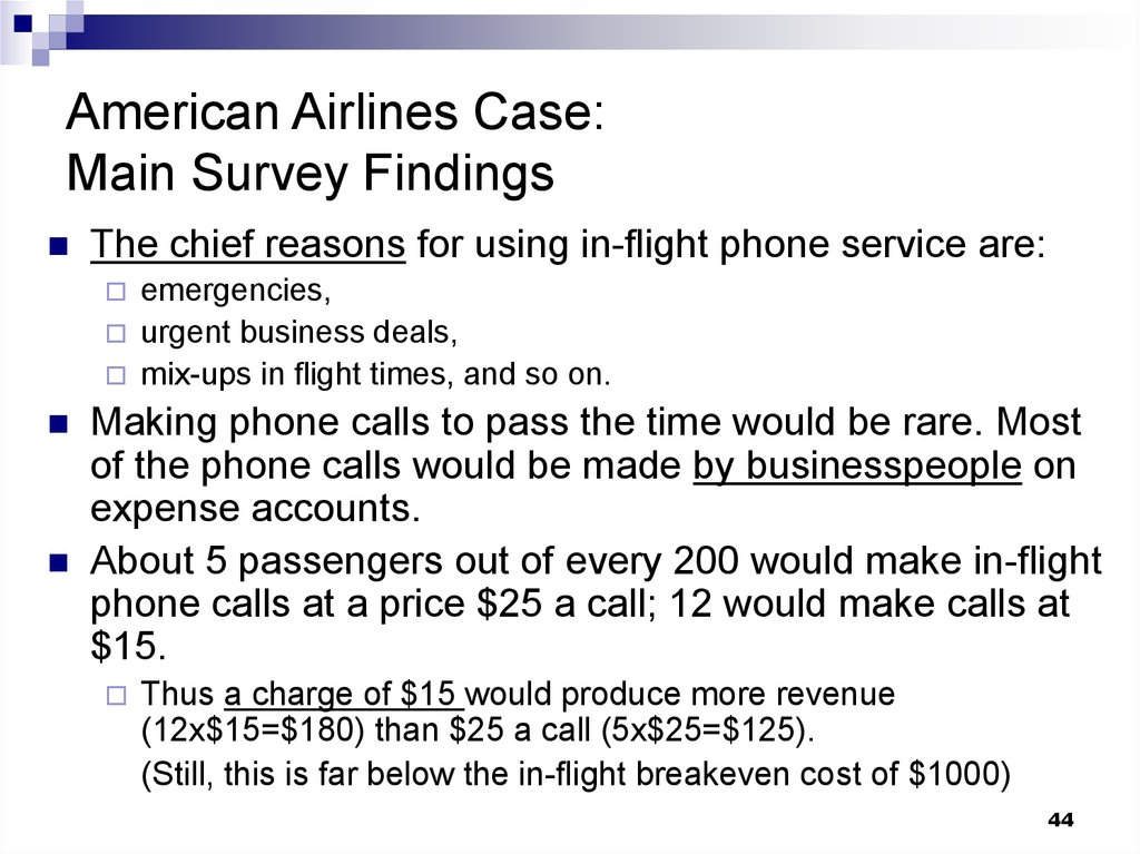 American Airlines Case: Main Survey Findings