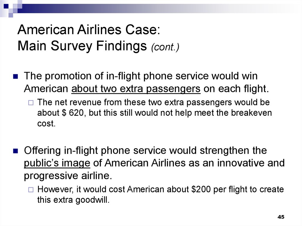 American Airlines Case: Main Survey Findings (cont.)