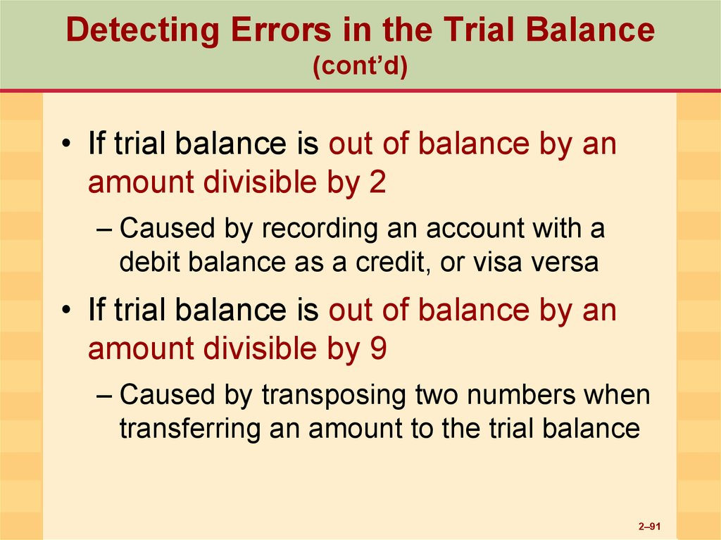 explain the various types of errors disclosed by trial balance Name east glendalough school correction of errors accounting & suspense correction of errors and the suspense account 1 at the start of the year, all the bal b/d on the left total to the same as all the bal b/d on the right.