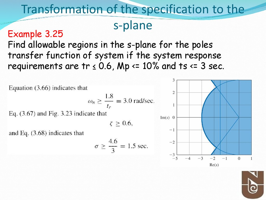 Transformation of the specification to the s-plane
