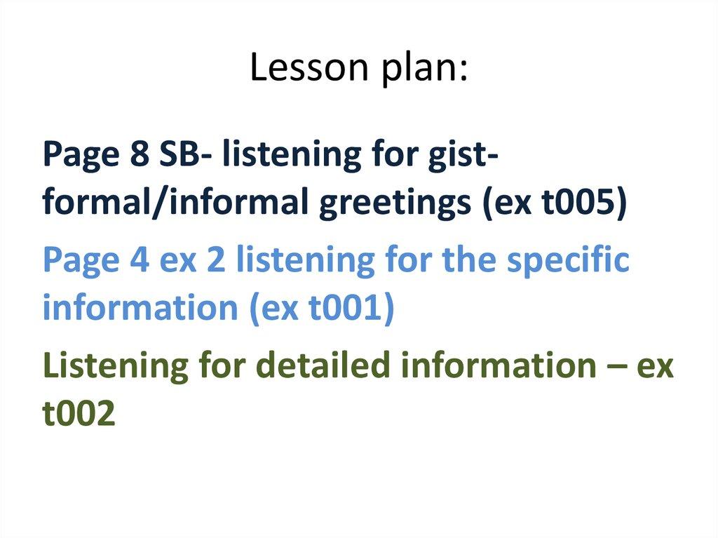 Listening for informal greetings - online presentation