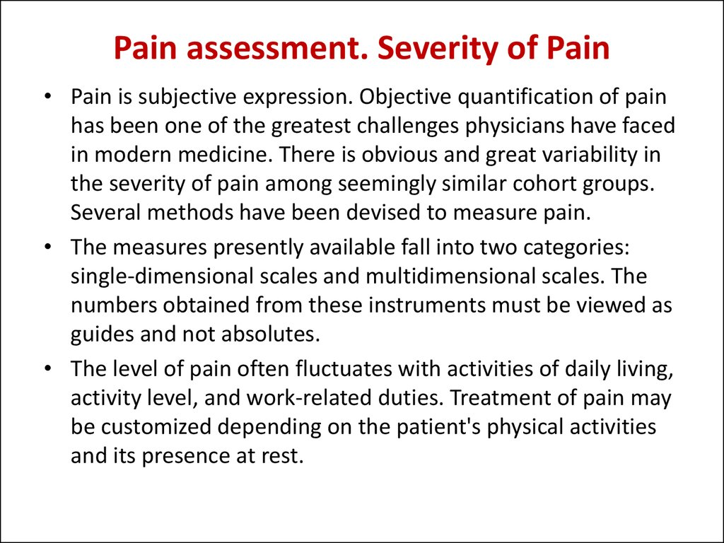 Pain assessment. Severity of Pain