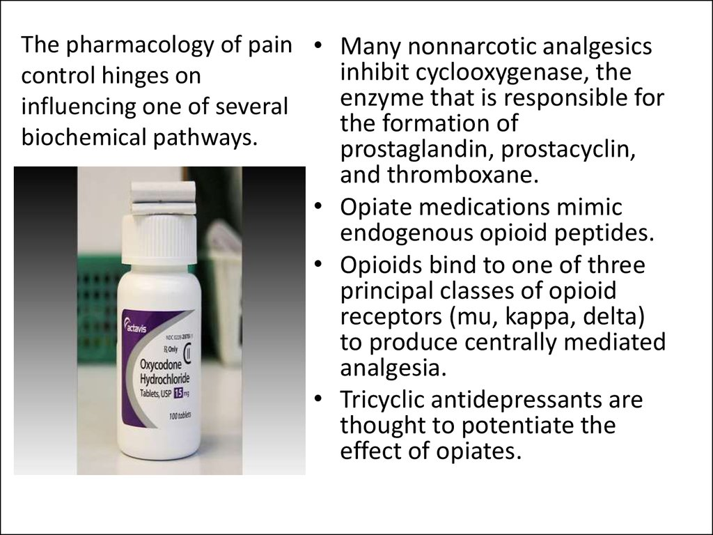 The pharmacology of pain control hinges on influencing one of several biochemical pathways.