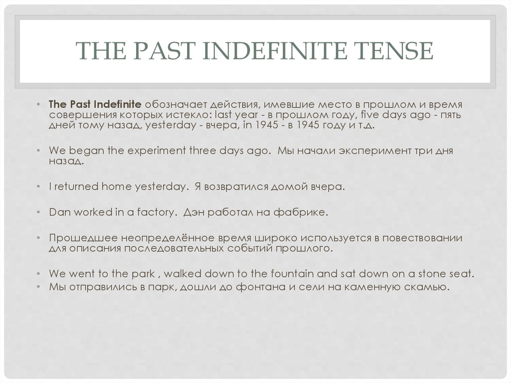 The Past Indefinite tense