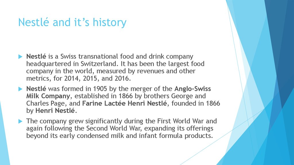 Nestlé and it's history