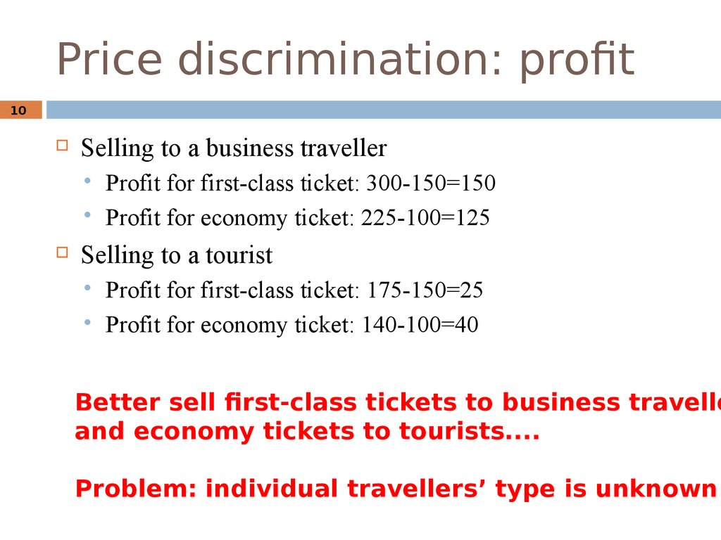 Price discrimination: profit