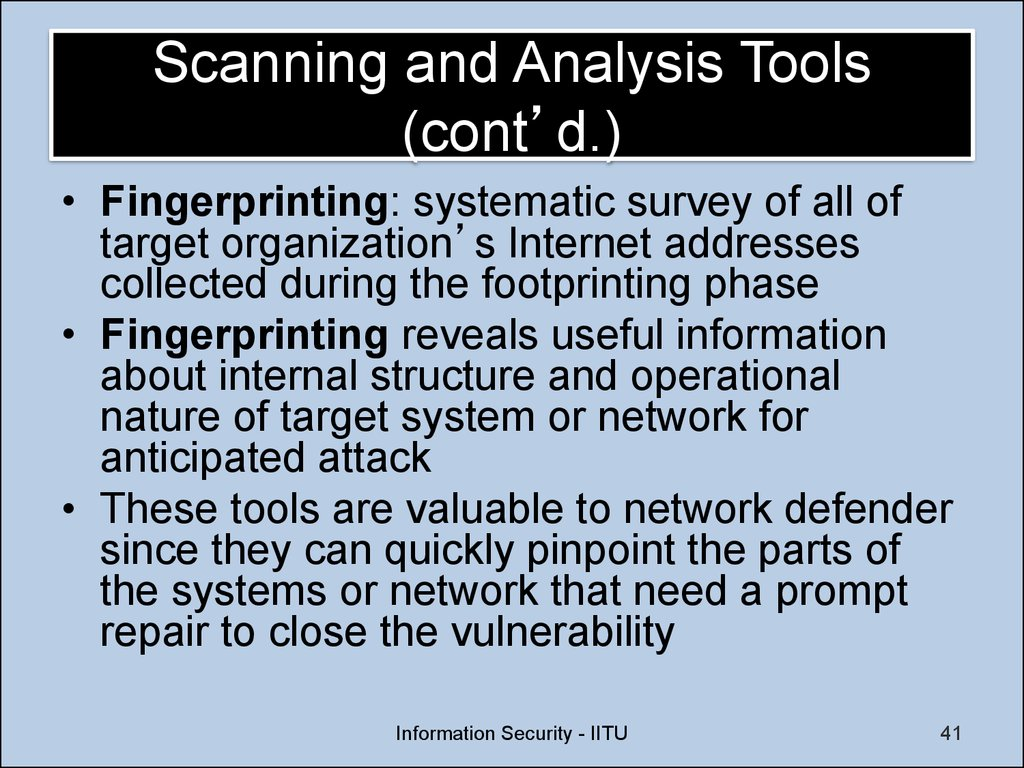 Scanning and Analysis Tools (cont'd.)