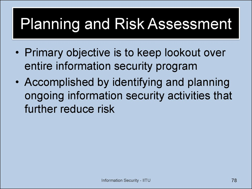 Planning and Risk Assessment