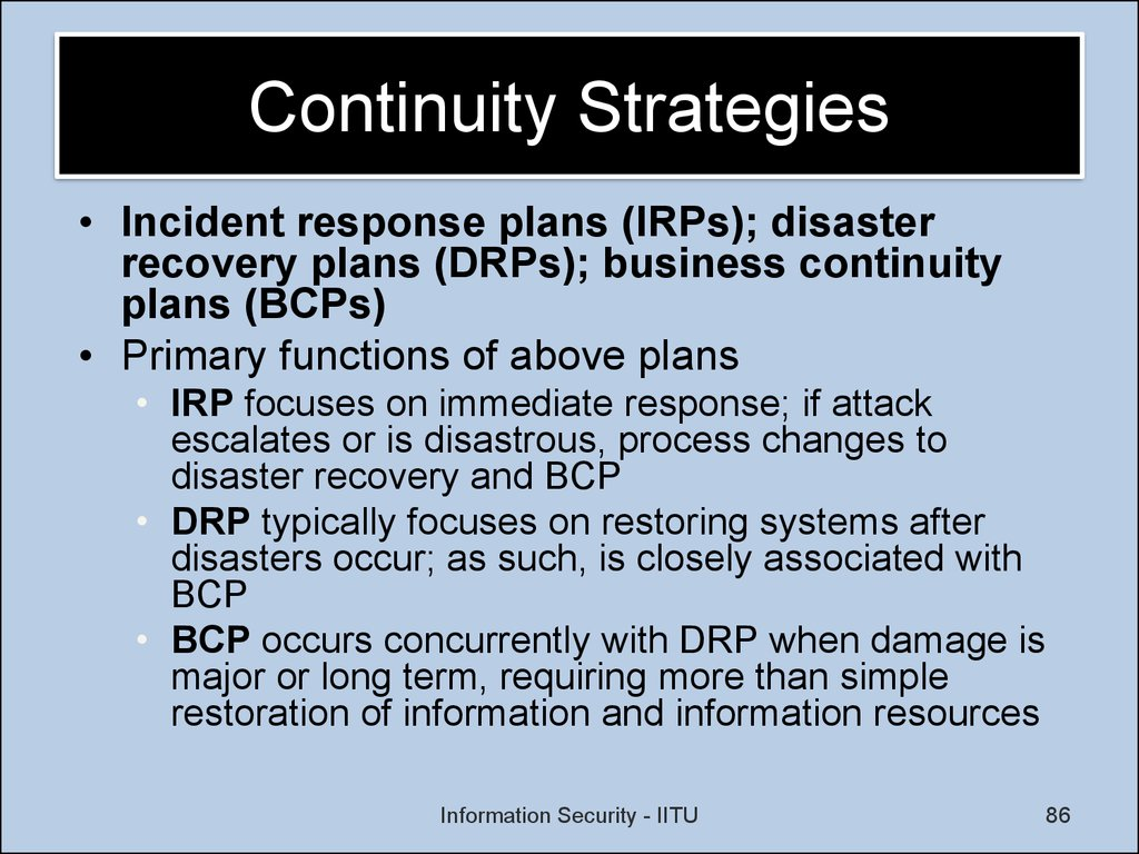 bcp drp bia and incident response plan A summary and general guideline for business continuity planning a disaster recovery plan deals with recovering response incident response involves the.