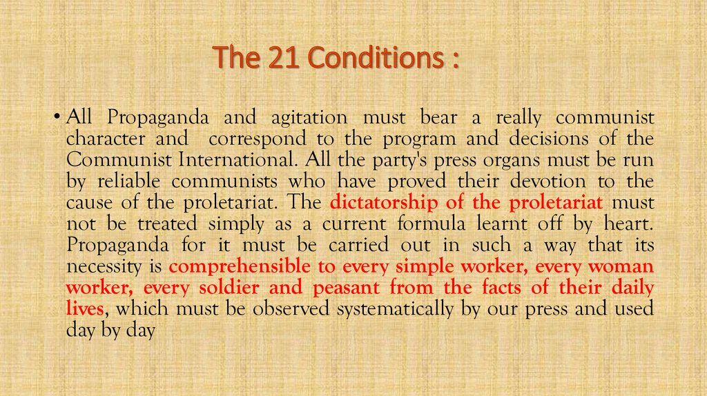 The 21 Conditions :