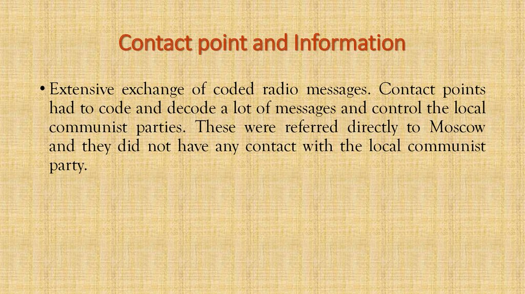 Contact point and Information