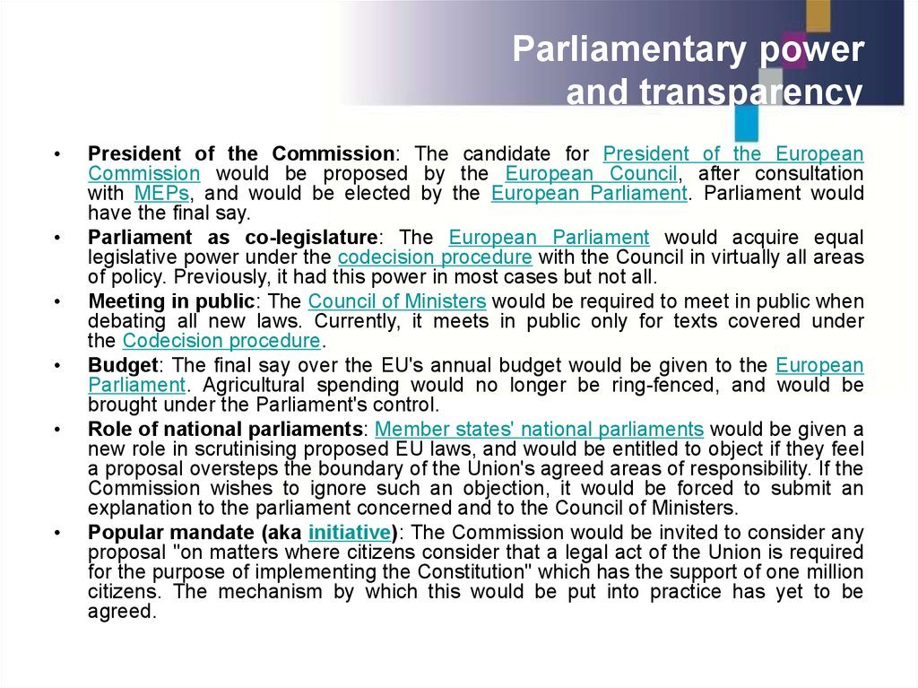 Parliamentary power and transparency