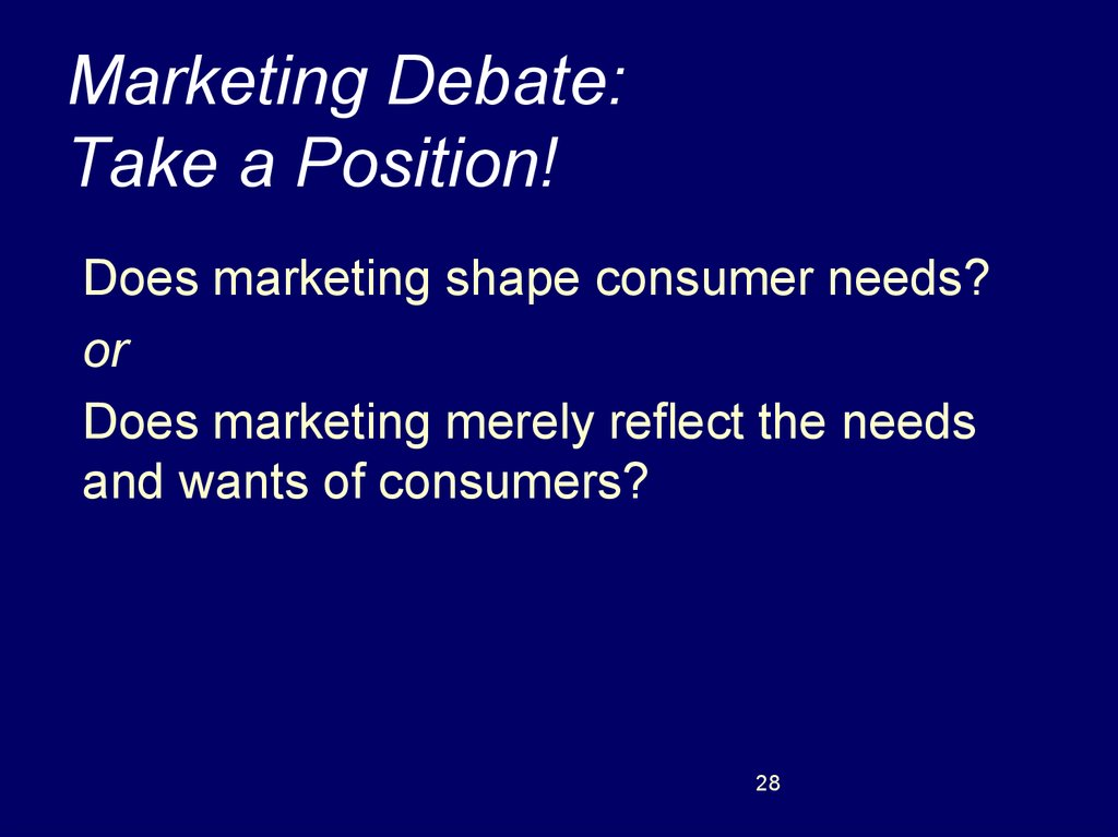 marketing shapes consumer needs and wants Debate 1 topic:marketing is marketing shapes consumer needs and wants versus marketing merely reflects the needs and wants of consumers marketing most.