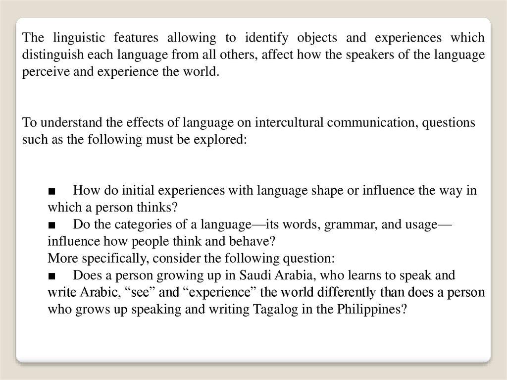 Verbal Intercultural Communication