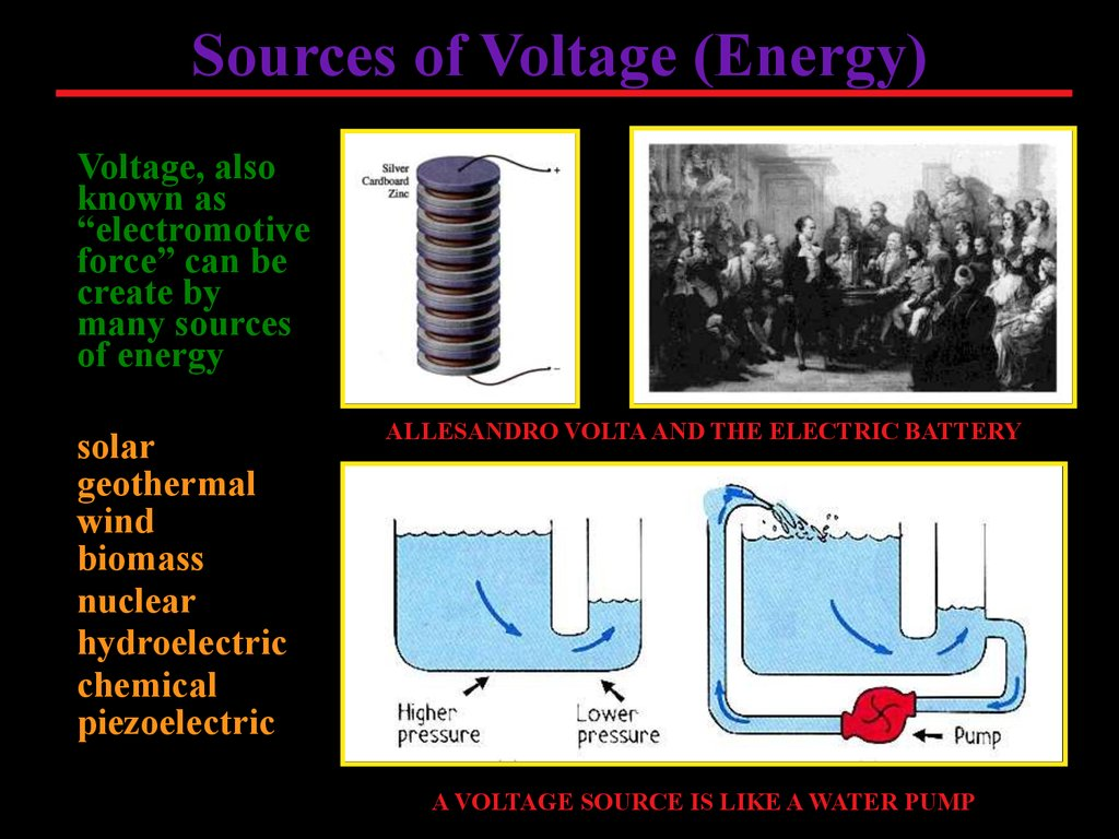 Electrical Circuits Online Presentation Create By Many Sources Of Energy Solar Geothermal Wind Biomass Nuclear Hydroelectric Chemical Piezoelectric Allesandro Volta And The Electric Battery