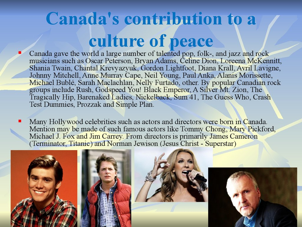 Canada's contribution to a culture of peace