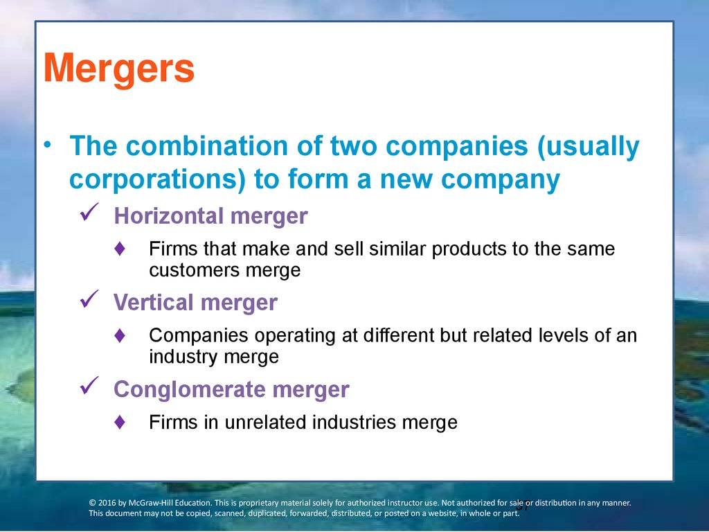 merger is the combination of two companies A consolidated merger is a merger in which an entirely new legal company is formed through combining the acquiring and target company the purpose of this merger is to create a new legal entity with the capital and assets of the merged acquirer and target company.