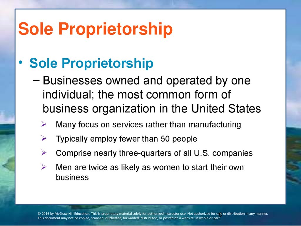 sole proprietorships 2 essay A sole proprietorship is a business owned by a single person a liability-liability is totally the sole proprietor's meaning that there is no difference between the sole proprietor business and personal assets they are one and if the business fails or the sole proprietor is sued the creditors.