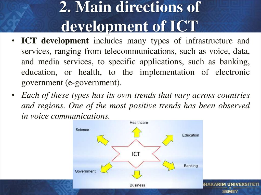 2. Main directions of development of ICT