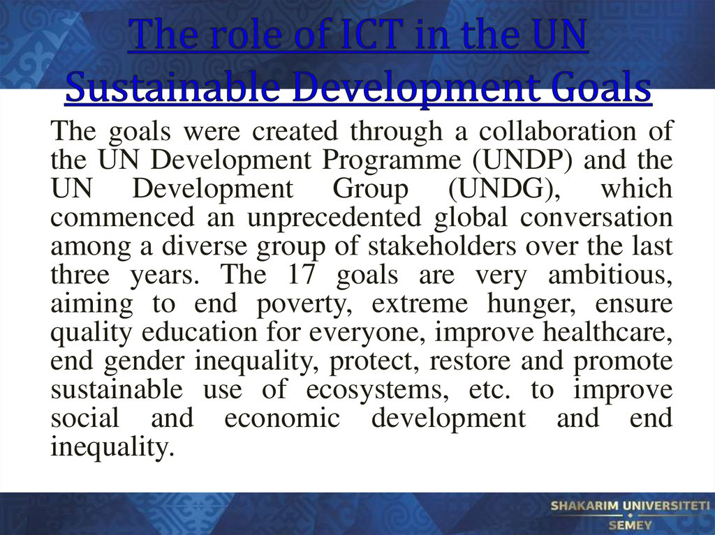 The role of ICT in the UN Sustainable Development Goals