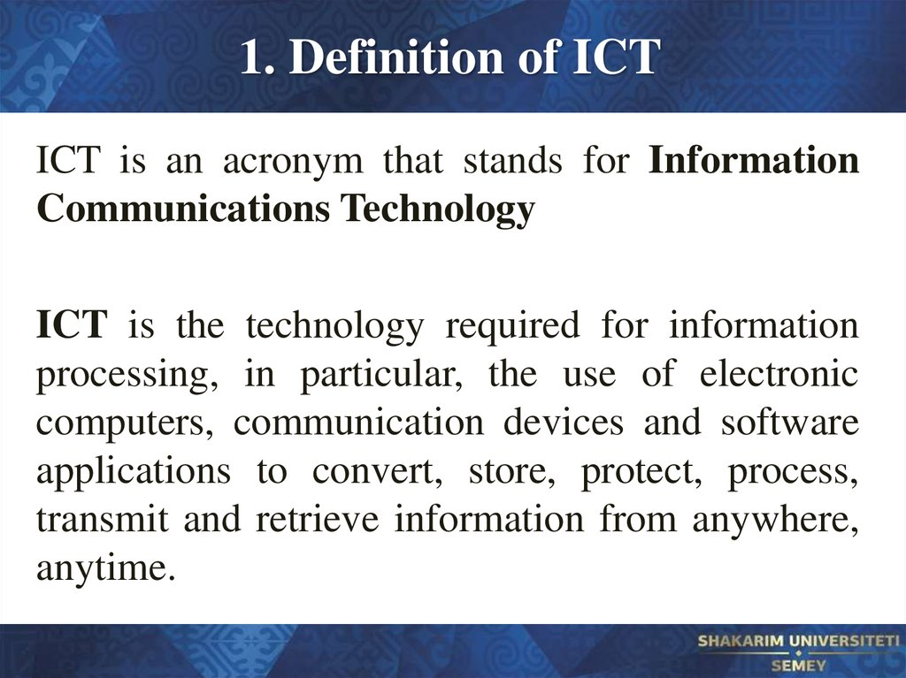 1. Definition of ICT