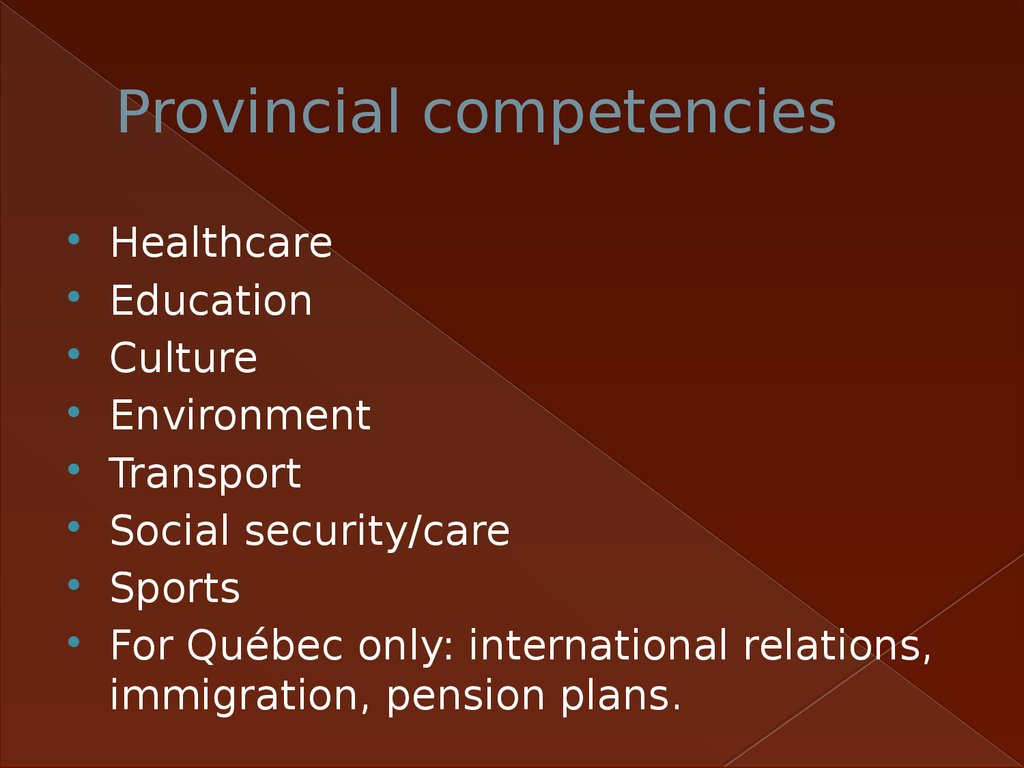 Provincial competencies