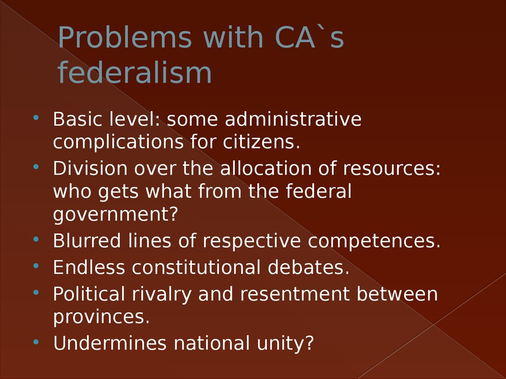 Problems with CA`s federalism