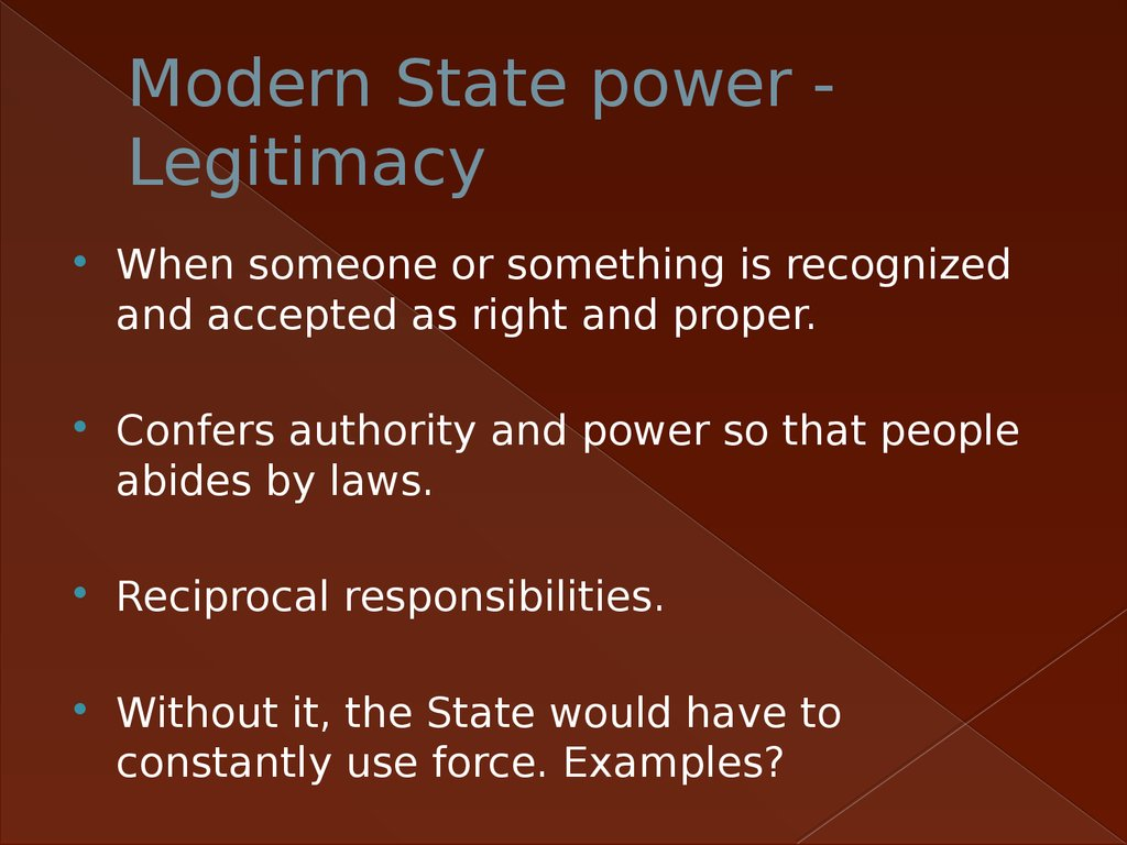 Modern State power - Legitimacy