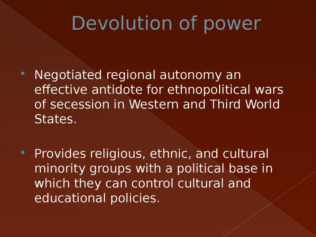Devolution of power