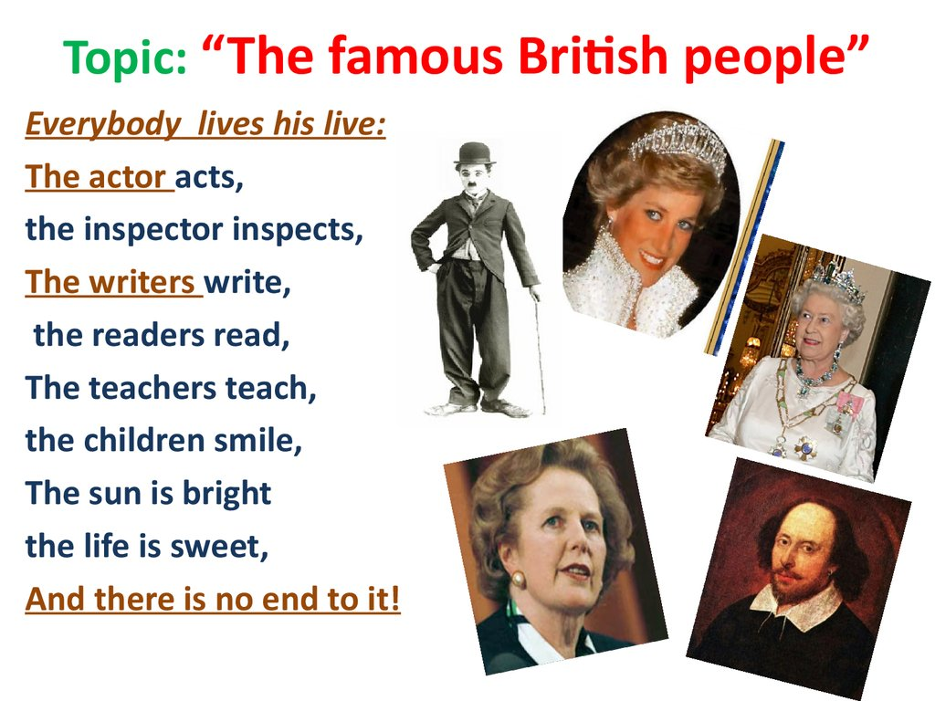 "Topic: ""The famous British people"""