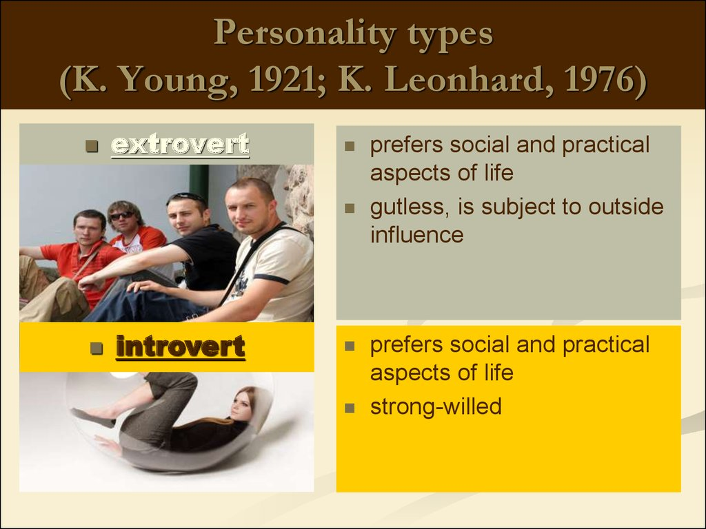 Personality types (K. Young, 1921; K. Leonhard, 1976)