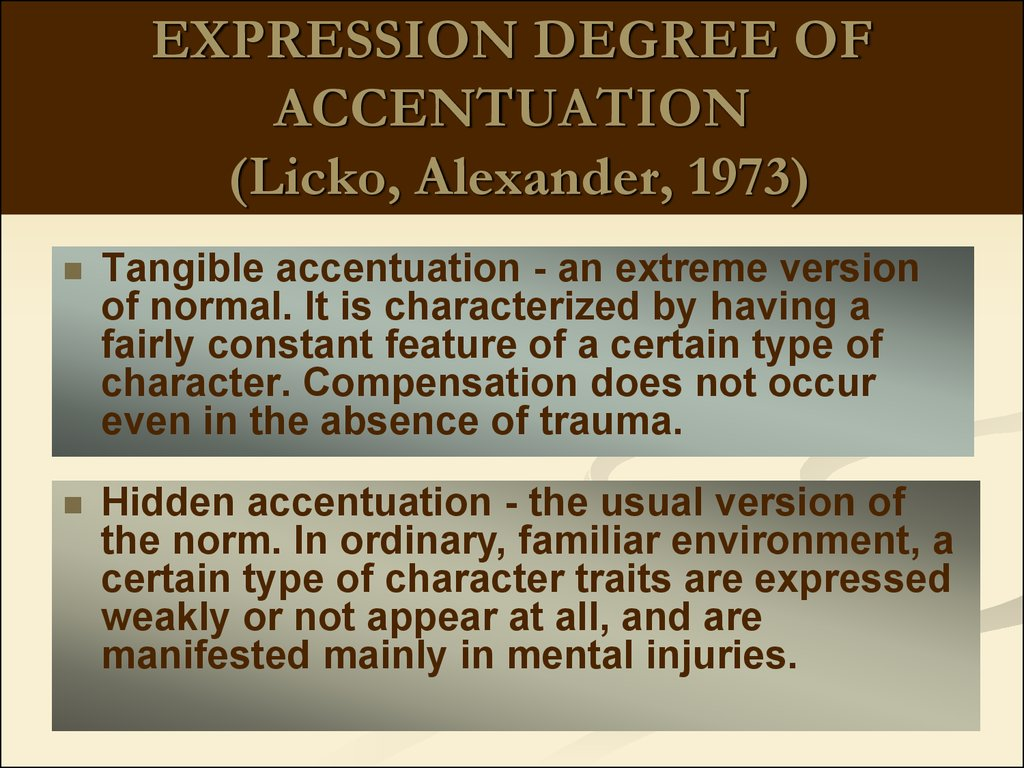 EXPRESSION DEGREE OF ACCENTUATION (Licko, Alexander, 1973)