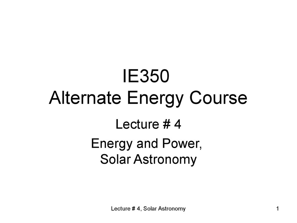 IE350 Alternate Energy Course