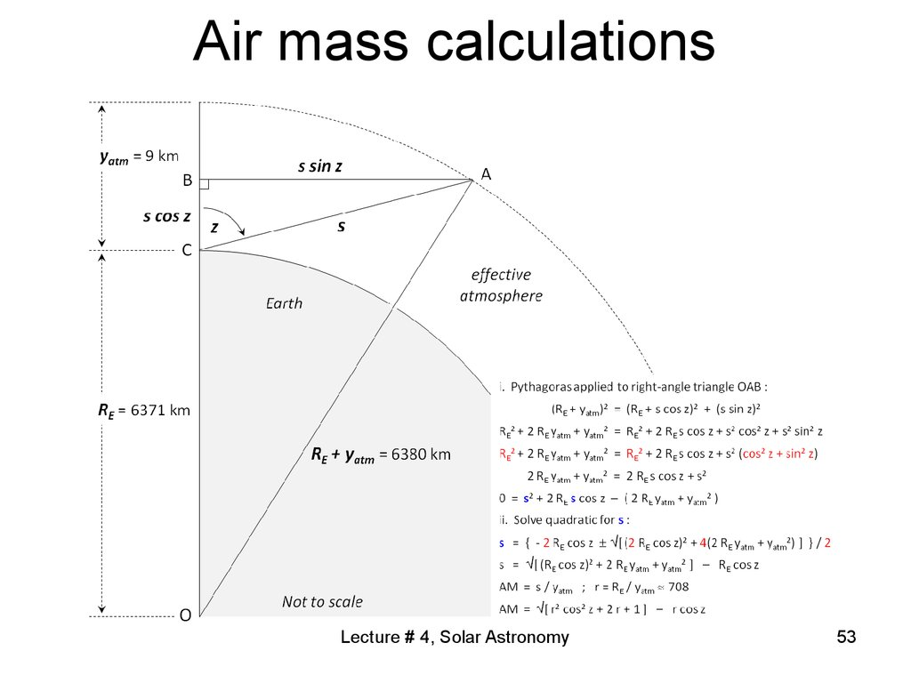 Air mass calculations