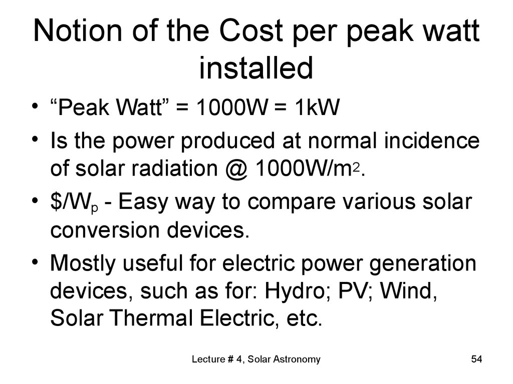 Notion of the Cost per peak watt installed